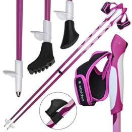 ALPIDEX Nordic Walking Stöcke LIPSTIX Fixlängenstock aus Carbon in verschiedenen Längen sehr leicht inkl. Gummipuffer und Padhalter ausklickbare Handschlaufen, Länge:105 cm, Farbe:Pink-Weiß - 1