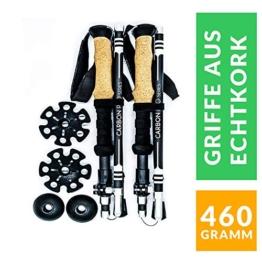 Alpin Loacker PRO Series Wanderstöcke | verstellbare Falt Stöcke mit Korkgriff inkl. Zubehör | aus stabilem Carbon Material (Black, Falt Version kurz) - 1