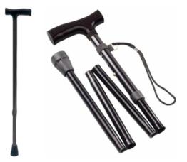 Gehstock Krückstock Spazierstock Aluminium Faltbar Schwarz 1 Stück Wanderstock Gehhilfe Tiga-Med Gehstöcke Krücken Krückstöcke - 1