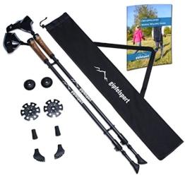 gipfelsport Carbon Nordic Walking Stöcke I Teleskop Walkingstöcke mit Tasche I schwarz, leicht, verstellbar - 1