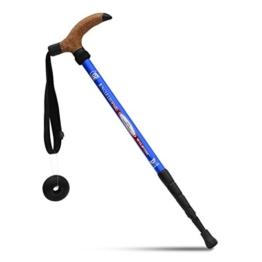 KRY Bergstock / Wanderstock, T-förmiger Griff, einziehbar, aus Luftfahrt-Aluminiumlegierung, verstellbare Teleskopstange, Stoßdämpfung, himmelblau - 1