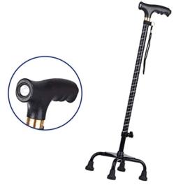 LQqqin Verstellbare Krücken, Rutschfester Multifunktionsstock aus Aluminiumlegierung mit LED-Beleuchtung, alt und behindertengerecht - Beste Aktionshilfe für Gehstöcke,1 - 1