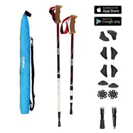 POWRX Wanderstöcke Trekkingstöcke Teleskop Verstellbar Climber oder Hiker Edition mit Anti-Shock Dämpfung + Tasche und Nordic Walking/Fitness App (Hiker) - 1