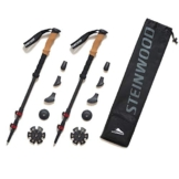 Steinwood Premium Carbon Wanderstöcke - Trekkingstöcke - verstellbar mit Teleskop und Klemmverschluss mit extra Gummipuffer - 1