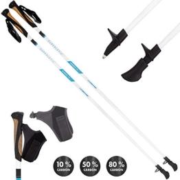 SUPERLETIC Nordic FX 10 Essential Nordic Walking Stöcke 10% Carbon, 100 bis 125 cm Länge, für Damen und Herren, ergonomische Korkgriffe, klick-System - 1