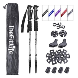 TheFitLife Hiking Walking Trekking Poles - 2 Pack with Antishock and Quick Lock System, Telescopic, Collapsible, Ultralight for Hiking, Camping, Mountaining, Backpacking, Walking, Trekking (Silvery) - 1