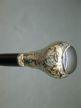 Vintage Holz Gehstock Spazierstock Wanderstock Gehhilfe mit Metall Griff silbern 95cm M12 - 1