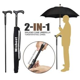 Wrzbest 2-in-1-Spazierstöcke-Regenschirm - Windschutzrippen-Spazierstock-Krückenregenschirm Hochleistungs-Wolframstahl Vaters zum Klettern, Wandern, Abhängen beim Regen - 1